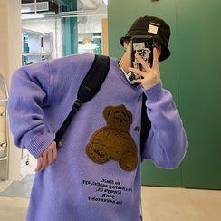 子俊 - 熊貼布繡圓領毛衣