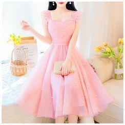 Petit Lace - Sleeveless Mesh Ruffled A-Line Dress