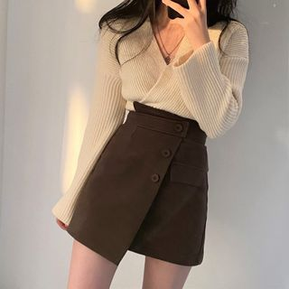 Tangihouse - Wrapped Knit Top / Skort