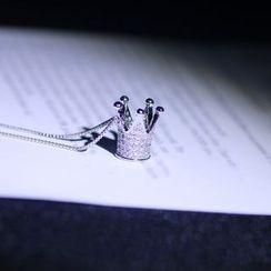 Jiniro - 925 Sterling Silver Rhinestone Crown Pendant Necklace