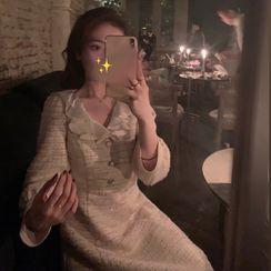 GILLY - 飾領長袖A字連衣裙