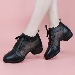 Danceon - Genuine Leather Mesh Panel Dance Shoes