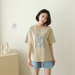 CANMART - Letter-Embossed Cotton T-Shirt