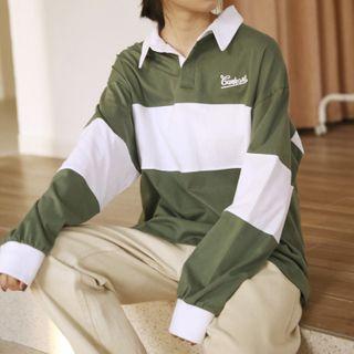 Romantica - Long-Sleeve Color Block Polo Shirt