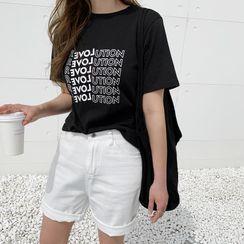 NANING9 - 'REVOLUTION' Letter T-Shirt