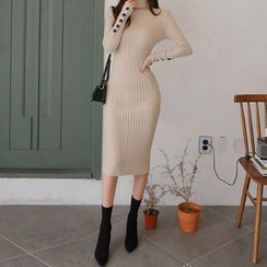 Kevina - Turtleneck Long-Sleeve Knit Sheath Dress