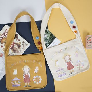 TangTangBags - Cartoon Printed Canvas Shoulder Bag