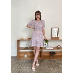 chuu - Ruffled Flower Pattern Dress