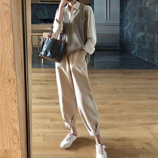 Apotheosis - 套裝:長袖純色襯衫 + V領針織馬甲 + 褲