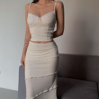 Bulgaris - Set: Lace Trim Camisole Top + Midi Pencil Skirt