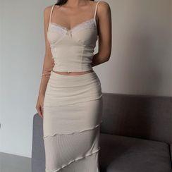 Bulgaris - Set: Lace-Trim Bow-Accent Camisole Top + Midi Pencil Skirt