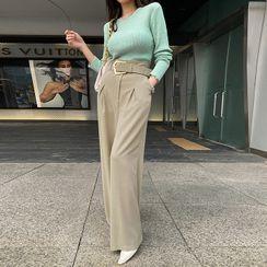 DABAGIRL - Wide Dress Pants with Belt