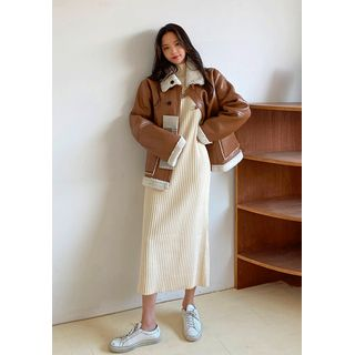 chuu - Mockneck Rib-Knit Long Dress