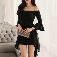 Shacos - 3/ 4 Sleeve Off Shoulder Mini Dress