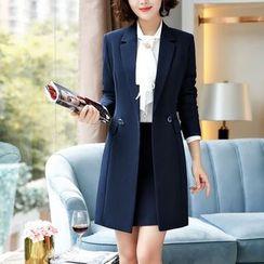 Princess Min - Long Blazer / Tie-Neck Blouse / Dress Pants / Pencil Skirt