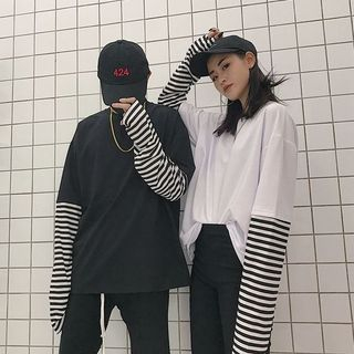 MELLO - Camiseta de manga larga con rayas y efecto dos piezas
