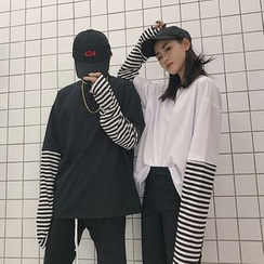 MELLO - Striped Long-Sleeve Mock Two-Piece T-Shirt