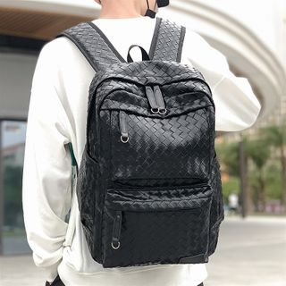 SUNMAN(サンマン) - Woven Faux Leather Backpack