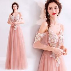 Caprice - Embroidered Off Shoulder Sheath Evening Gown