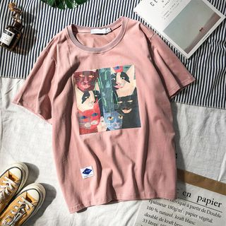bloomingtide - Short-Sleeve Cat Print T-Shirt