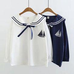 白金天使 - 水手領刺繡襯衫