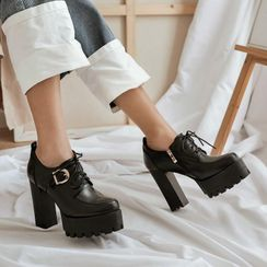 JY Shoes - Platform Chunky-Heel Lace-Up Shoes