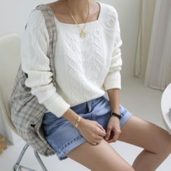 DANI LOVE - Square-Neck Cable-Knit Top