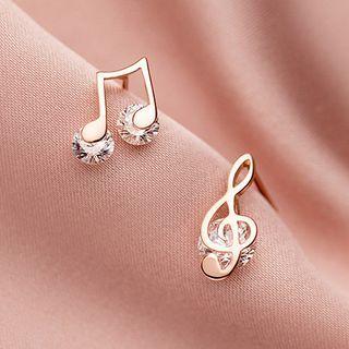 A'ROCH - 不對稱925純銀水鑽音符耳環