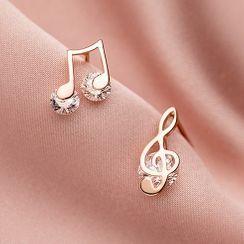A'ROCH - 不对称925纯银水钻音符耳环