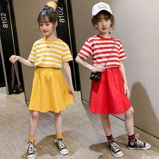 PAM - Kids Set: Short-Sleeve Striped T-Shirt + A-Line Skirt