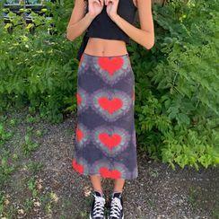 Hotarium - Heart Print Midi A-Line Skirt