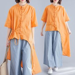 RAIN DEER - Plain Stand-Collar Semi Sleeve Asymmetrical Shirt