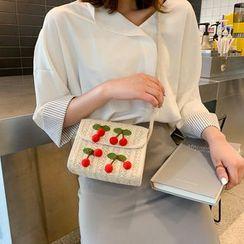 Diamante(ディアマンテ) - Cherry Detail Woven Crossbody Bag