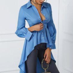 Merlaine - Long-Sleeve High-Low Shirt Dress