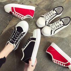 Yuche - 配色边字母帆布休閒鞋