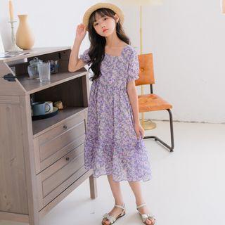 Cynanne - Kids Floral Print Short-Sleeve Midi A-Line Dress