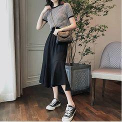 Apotheosis - Set: Short-Sleeve Argyle Print Knit Top + Midi A-Line Skirt