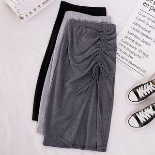 BDARE - Drawstring Slit Midi Pencil Skirt