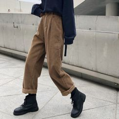 Whoosh - High-Waist Corduroy Straight Leg Pants