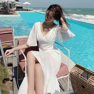 Dicezone - Bell-Sleeve V-Neck Maxi Sundress