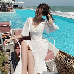 Dicezone - Bell-Sleeve V-Neck Maxi Sundress