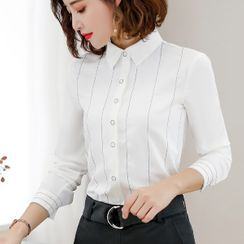 Princess Min - Striped Blouse / Straight-Cut Dress Pants