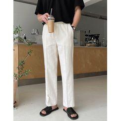 JOGUNSHOP - Drawcord Straight Linen Pants