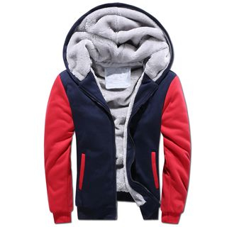 Carser - Fleece Lined Color Panel Hooded Jacket