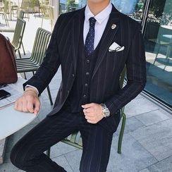 Besto - 套裝: 條紋西裝外套 + 馬甲 + 西褲