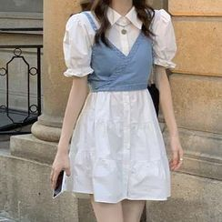 monroll - Puff-Sleeve A-Line Mini Shirtdress / Spaghetti Strap Denim Crop Top
