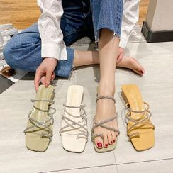 NODO - Rhinestone Loop Toe Block Heel Sandals