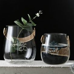 Hashi - Lettering Glass Vase with Leather Handle