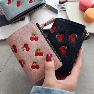 RAINBOWXX - Faux Leather Cherry Embroidered Wallet