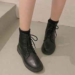 Shoeland - Faux Leather Lace-Up Short Boots